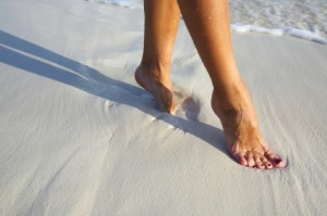 elegant step on a sandy beach